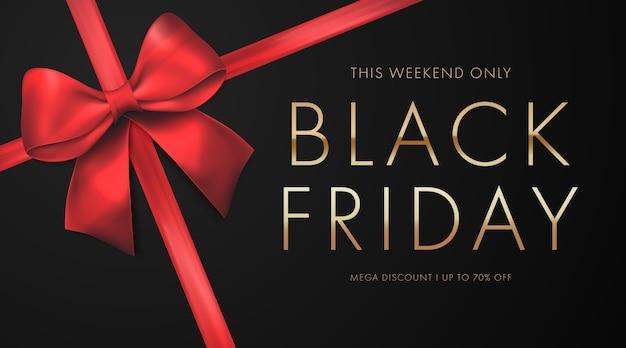 Concept de vente vendredi noir avec arc rouge
