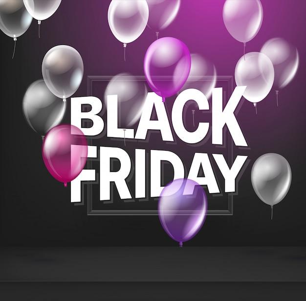 Concept de vente vendredi noir avec des ballons.