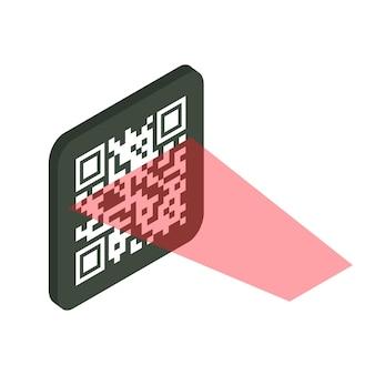 Concept de vérification qr. code-barres lisible par machine. le processus de numérisation du code qr avec un laser. illustration isométrique vectorielle isolée sur fond blanc