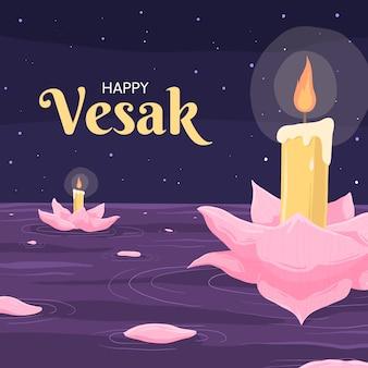 Concept de vesak dessiné à la main