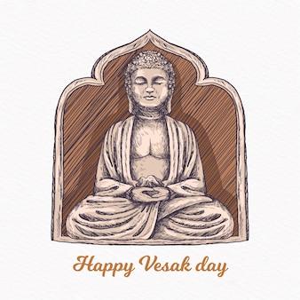 Concept de vesak heureux dessiné à la main