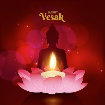 Concept de vesak réaliste avec des bougies
