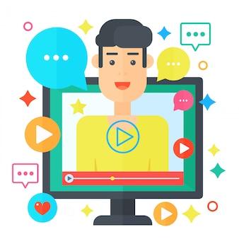 Concept de vidéo blogueur