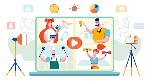Concept de vidéo blogueurs