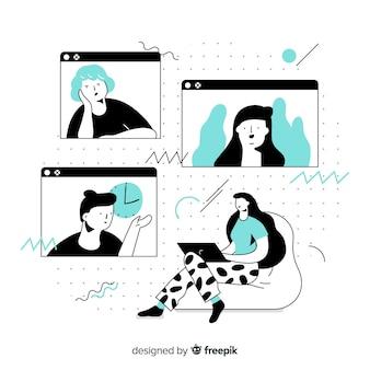 Concept de vidéoconférence pour la page de destination