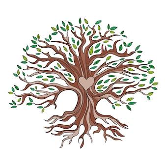 Concept de vie d'arbre dessiné à la main