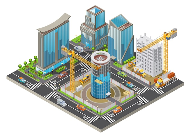 Concept de ville en construction isométrique avec grues de bâtiments modernes et transport industriel