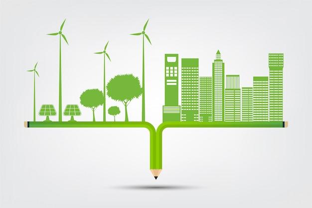 Concept de ville écologique et environnement avec des idées écologiques
