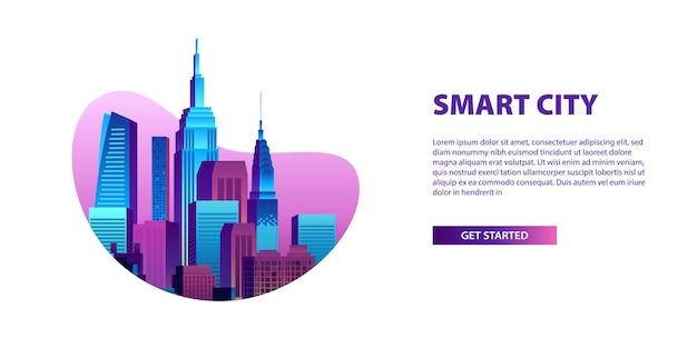 Concept de ville intelligente avec des bâtiments colorés et une bannière de gratte-ciel