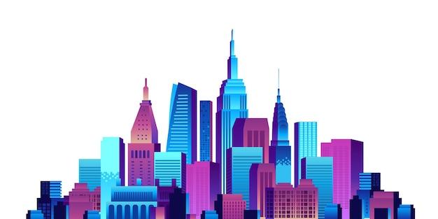 Concept de ville intelligente avec des bâtiments colorés dégradés et illustration de scène de gratte-ciel