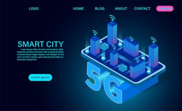 Concept de ville intelligente, bâtiments avec internet sans fil symbole 5g. technologie et télécommunications. illustration de concept isométrique