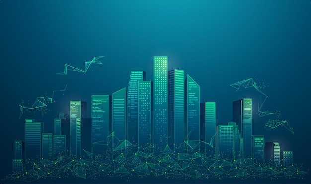 Concept de ville intelligente ou de ville numérique, graphique de bâtiments avec élément low poly présenté dans un style futuriste
