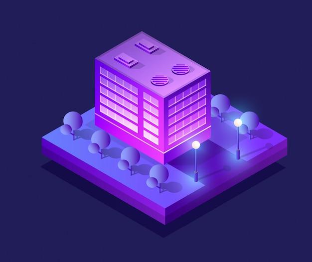 Concept de ville ultra isométrique de style violet, un ultraviolet
