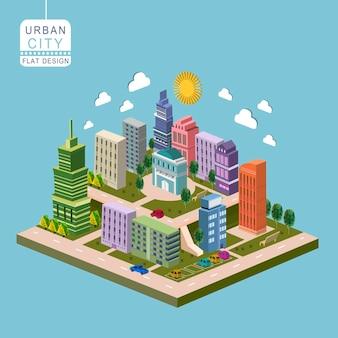 Concept de ville urbaine infographie isométrique 3d avec des bâtiments modernes