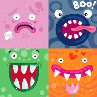 Concept de visages de monstres drôles
