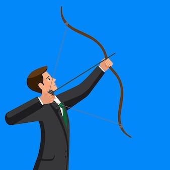 Concept de visée. l'homme tire une flèche.
