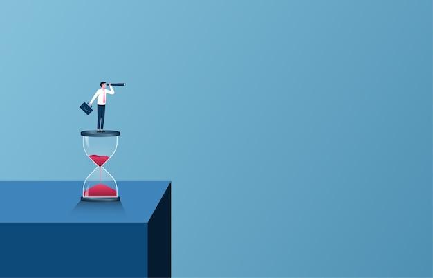 Concept de vision d'entreprise. homme d'affaires détenant le télescope sur l'illustration de sablier.