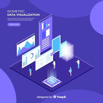 Concept de visualisation de données isométrique