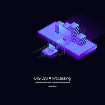 Concept de visualisation de données plate-forme d'analyse de données 3d illustration vectorielle isométrique