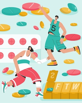 Concept de vitamines et de compléments alimentaires pour sportifs