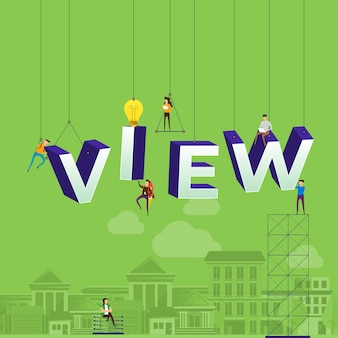 Concept vlog. l'équipe développe une vidéo de chaîne en ligne. illustrer.
