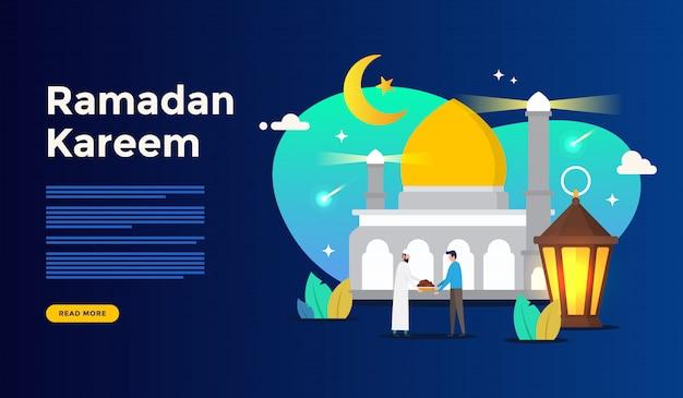 Concept de voeux joyeux ramadan kareem avec caractère de personnes pour le modèle de page de renvoi web