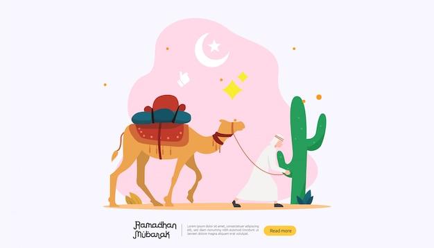 Concept de voeux joyeux ramadan mubarak avec caractère de personnes