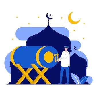 Concept de voeux joyeux ramadan mubarak avec des personnes minuscules
