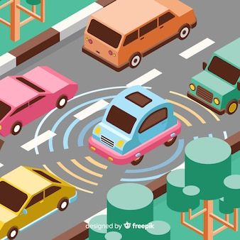Concept de voiture autonome isométrique