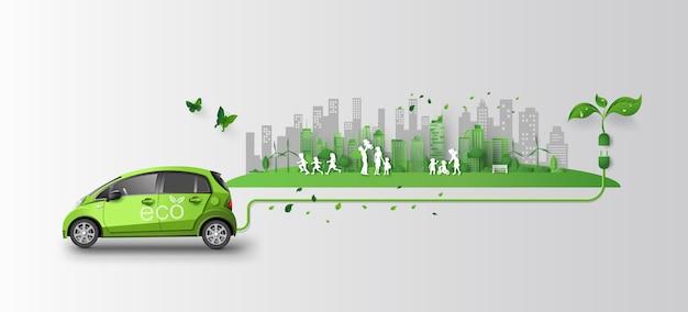 Concept de voiture écologique avec la famille et la nature dans la ville.