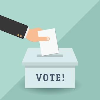 Concept de vote dans le style plat - main mettant le papier dans l'urne