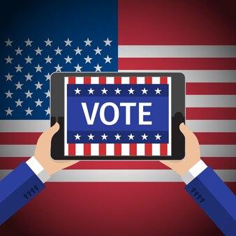 Concept de vote avec les mains tenant la tablette avec vote