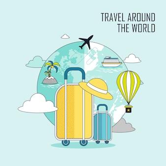 Concept de voyage autour du monde : bagages et la terre dans le style de ligne