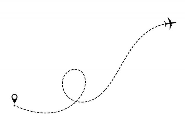 Concept de voyage en avion avec des broches de la carte, des points gps. lignes pointillées de l'itinéraire de l'avion. tourisme et voyages. route touristique en avion.