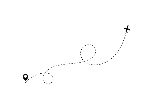 Concept de voyage en avion avec des broches de la carte, des points gps.