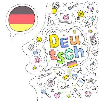 Concept de voyage. drapeau allemand et visage avec des icônes de dessin au trait.