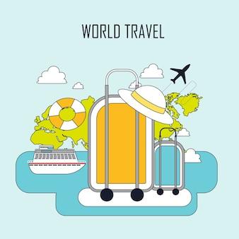 Concept de voyage du monde : bagages dans le style de ligne