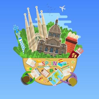 Concept de voyage en espagne ou d'étude de l'espagnol. drapeau espagnol avec points de repère au bureau. design plat, illustration vectorielle