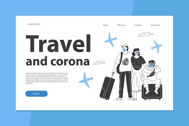 Le concept de voyage pendant l'épidémie de coronavirus le modèle de page de destination