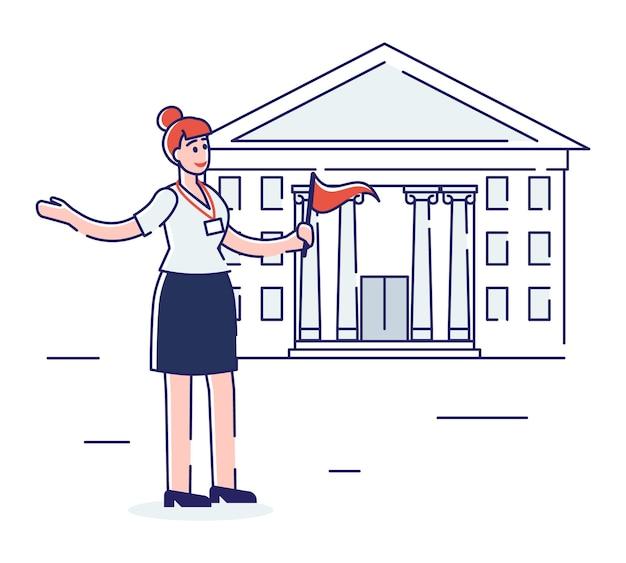 Concept de voyage. stand de guide touristique avec drapeau rouge en face du célèbre bâtiment, prêt à expliquer les détails de la ville ou du pays pour les visiteurs.