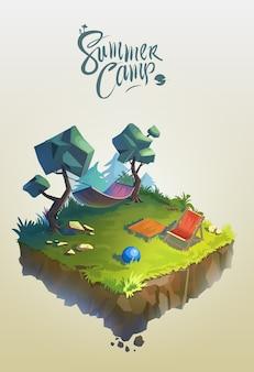 Concept de voyage et de tourisme. paysage naturel avec camp de vacances en forêt. illustration 3d isométrique de vecteur.