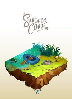 Concept de voyage et de tourisme. paysage naturel avec camp de vacances près d'un lac. illustration 3d isométrique de vecteur.