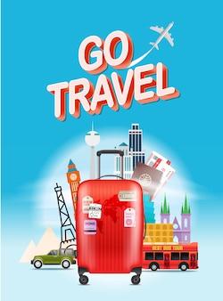Concept de voyage de vacances. allez voyagez. illustration de voyage vectorielle avec sac rouge. composition verticale