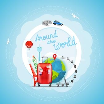 Concept de voyage de vacances. illustration de voyage vectorielle