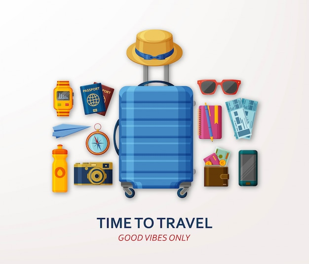 Concept de voyage avec valise, lunettes de soleil, chapeau, appareil photo et boussole sur fond blanc. bonnes vibrations seulement. illustration.
