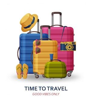 Concept de voyage avec valises, lunettes de soleil, chapeau, appareil photo et tongs sur fond blanc. bonnes vibrations seulement. illustration.