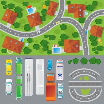 Concept de vue de dessus de paysage de ville