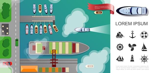 Concept de vue de dessus de port de mer plat