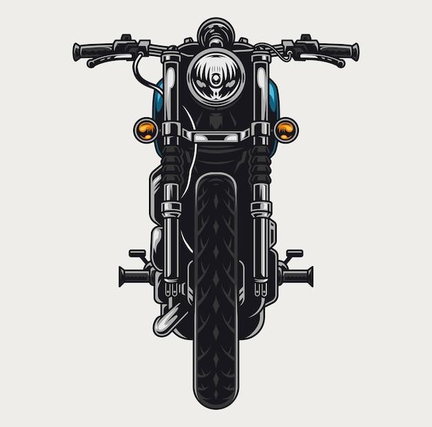 Concept de vue de face de moto colorée dans un style vintage isolé
