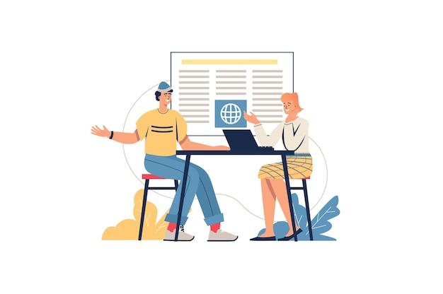 Concept web d'actualités internet. l'homme et la femme travaillent dans les médias en ligne, discutant des derniers événements mondiaux. les journalistes travaillent au bureau, scène de personnes minimales. illustration vectorielle au design plat pour site web